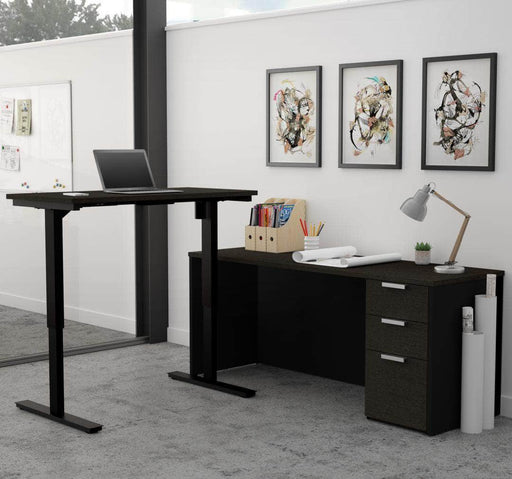 Pro-Concept Plus 2 Piece Set Including a Standing Desk and a Desk - Deep Grey & Black