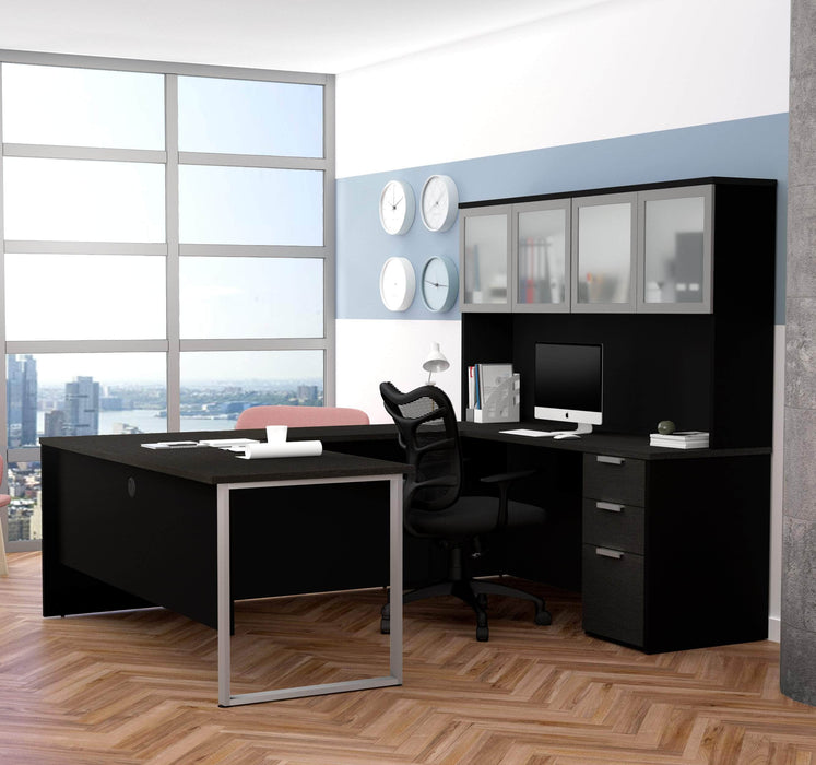 Pro-Concept Plus U-Shaped Desk with Pedestal and Frosted Glass Door Hutch - Deep Grey & Black