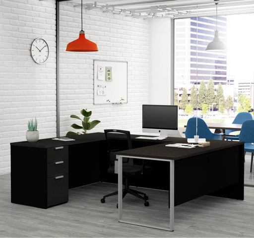 Pro-Concept Plus U-Shaped Desk with Pedestal - Deep Grey & Black