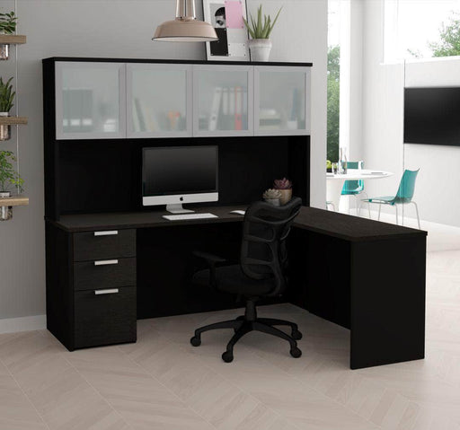Pending - Priority Bestar Pro-Concept Plus L-Shaped Desk with Dedestal and Frosted Glass Door Hutch - Deep Grey & Black