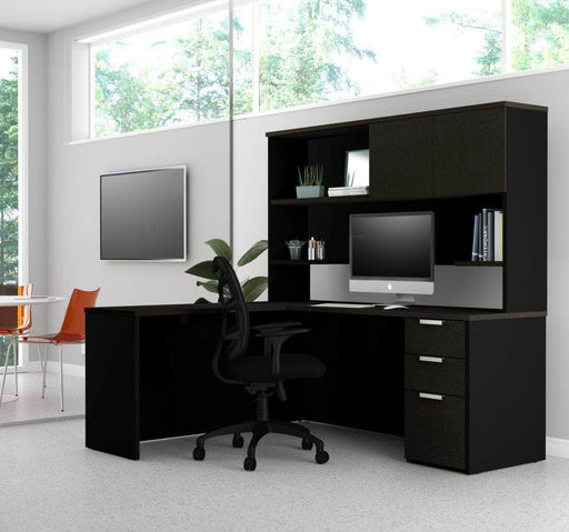 Pending - Priority Bestar Pro-Concept Plus L-Shaped Desk with Pedestal and Hutch - Deep Grey & Black
