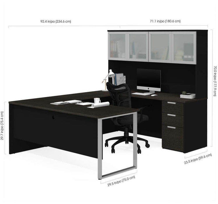Pro-Concept Plus U-Shaped Desk with Pedestal and Frosted Glass Door Hutch - Deep Grey & Black Dimensions