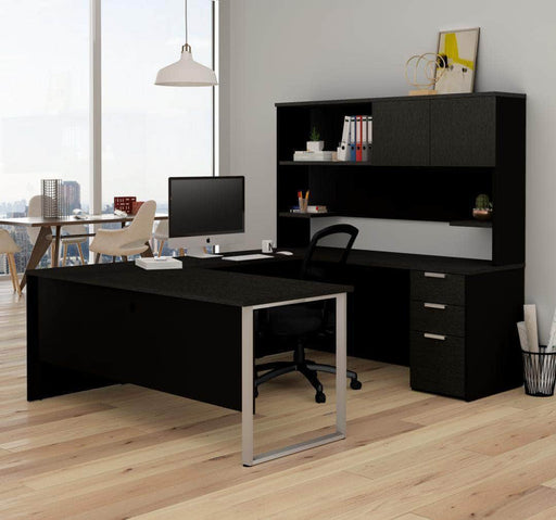 Pending - Priority Bestar Pro-Concept Plus U-Shaped Desk with Pedestal and Hutch - Deep Grey & Black