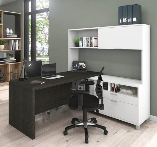 Pro-Linea L-Shaped Desk with Hutch - Deep Grey & White