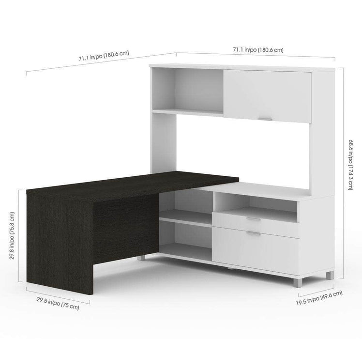 Pending - Priority Bestar Pro-Linea L-Shaped Desk with Hutch - Deep Grey & White