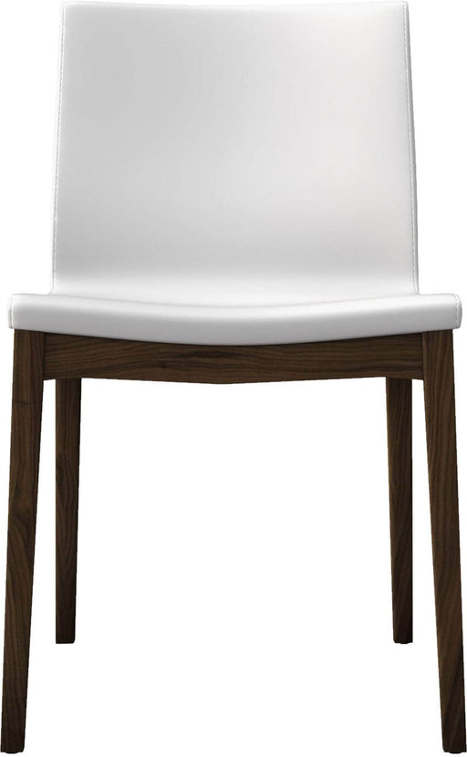Pending - Review Dining Chairs White Eco Leather/Canaletto Walnut Enna Dining Chairs - Available in 2 Colors