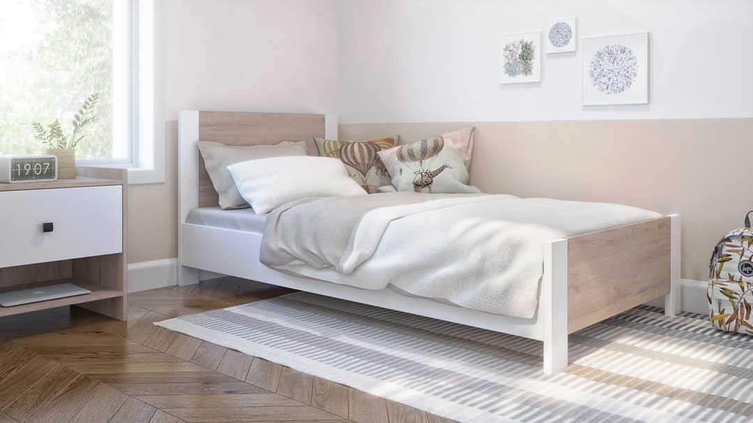 Sirah Twin Platform Bed - Rustic Brown & White