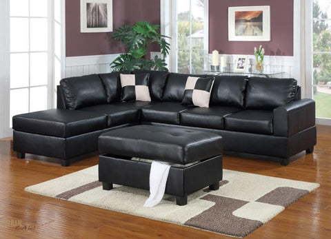 Sacramento Black Eco Leather Sectional Sofa with Reversible Chaise and Storage Ottoman