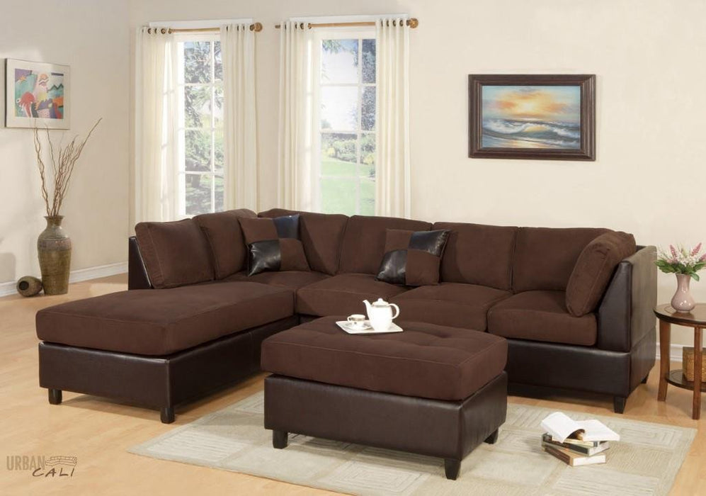 Sacramento Chocolate Microfiber Sectional Sofa with Reversible Chaise and Ottoman-Wholesale Furniture Brokers
