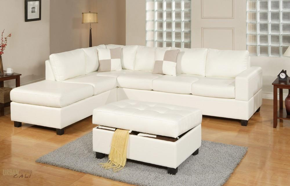 Sacramento Cream Eco Leather Sectional Sofa with Reversible Chaise and  Storage Ottoman