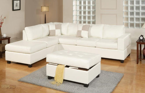Sacramento Cream Leather Sectional Sofa with Left Facing Chaise by Urban Cali