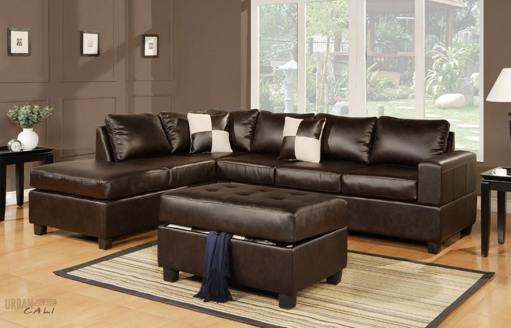 Sacramento Espresso Eco Leather Sectional Sofa with Reversible Chaise and  Storage Ottoman