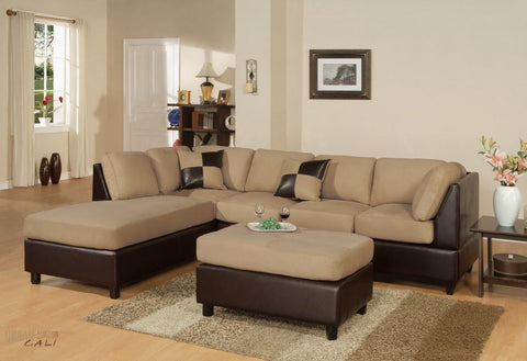 Sacramento Hazelnut Microfiber Sectional Sofa with Reversible Chaise and Ottoman