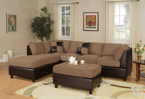Sacramento Saddle Microfiber Sectional Sofa with Reversible Chaise and Ottoman