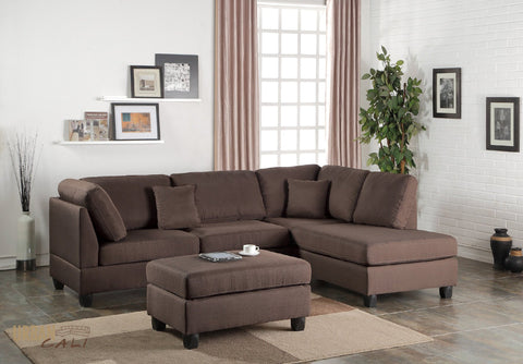 San Francisco Chocolate Linen Sectional Sofa with Reversible Chaise and Ottoman