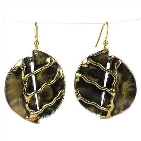 A River Runs Brass Earrings-Snazzy Bazaar