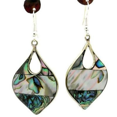 Abalone Teardrop Alpaca Silver Earrings-Snazzy Bazaar