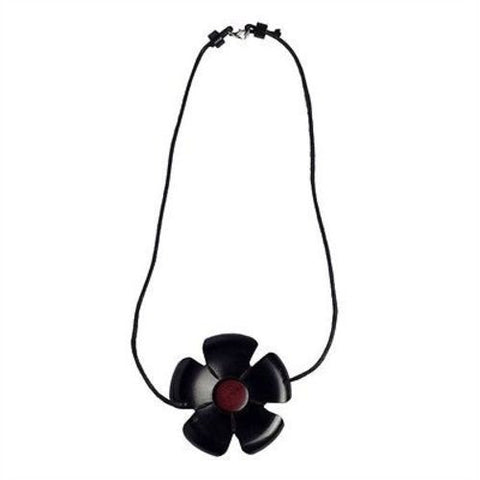 African Blackwood Flower and Pink Ivory Wood Necklace-Snazzy Bazaar