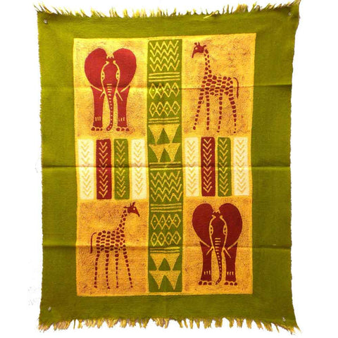 African Quad Batik - Green, Yellow & Red-Snazzy Bazaar