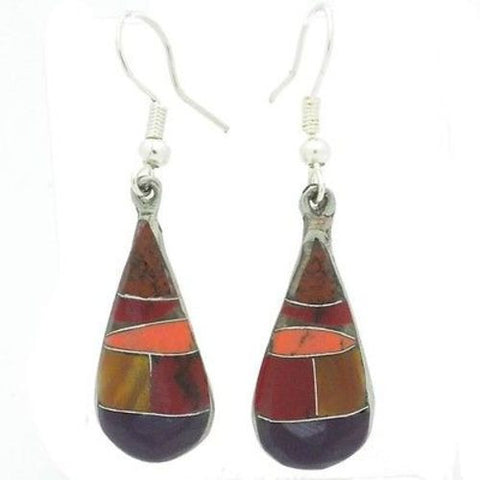 Alpaca Silver Purple and Earth Tone Stone Drop Earrings-Snazzy Bazaar