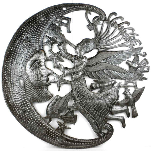 Angel and Moon - Haitian Metal Wall Art-Snazzy Bazaar