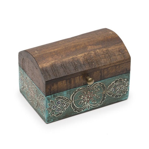 Antiqued Handmade Blue and Gold Metal Design on Wood Chest-Snazzy Bazaar