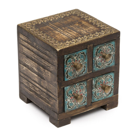 Antiqued Handmade Metal and Wood Chest with 4 Compartments-Snazzy Bazaar