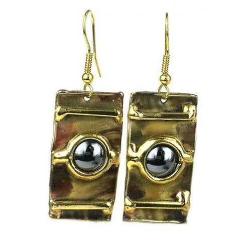 Between the Lines Hematite and Brass Earrings-Snazzy Bazaar