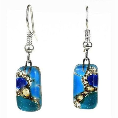 Blue Earthtones Small Glass Earrings-Snazzy Bazaar