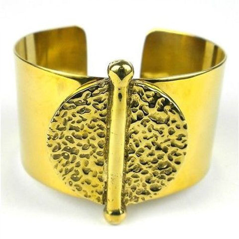 Bomb Casing Embossed Medallion Cuff-Snazzy Bazaar