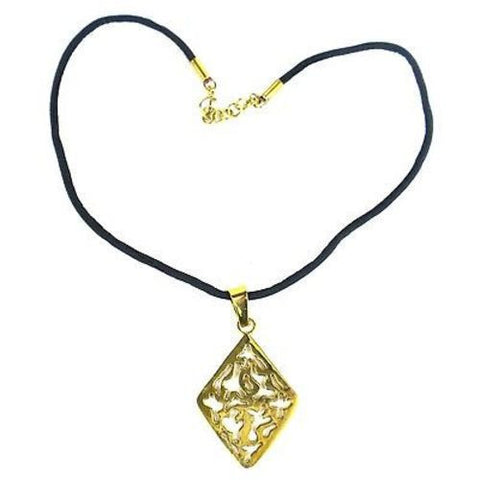 Bomb Shell Diamond-Shaped Pendant on Cord-Snazzy Bazaar