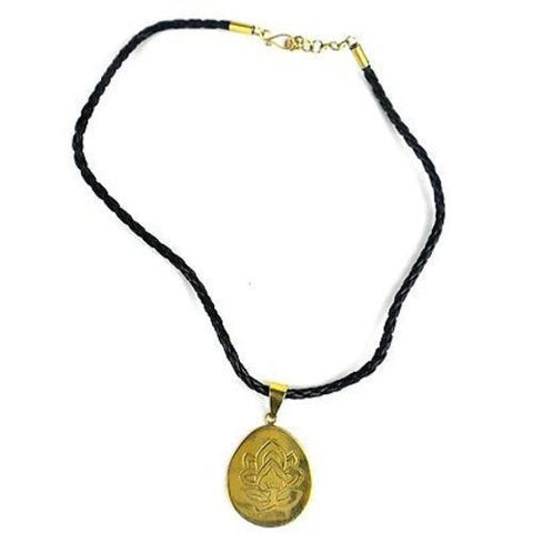 Bomb Shell Etched Lotus Pendant on Cord-Snazzy Bazaar