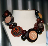 Brun Exotique - Handmade Vintage Button Necklace-Snazzy Bazaar