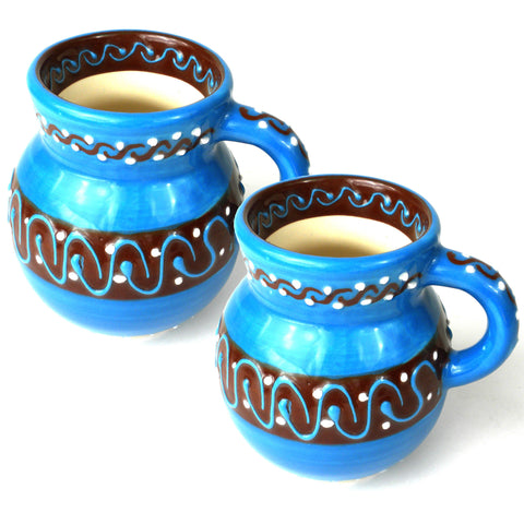 Ceramic Beaker Mug - Azul Celeste - Set of Two-Snazzy Bazaar