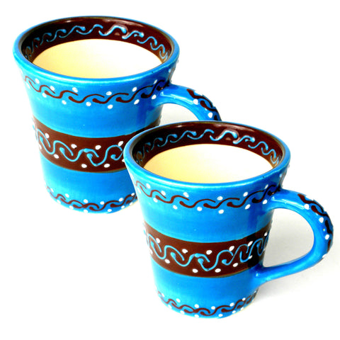 Ceramic Flared Mug - Azul Celeste - Set of Two-Snazzy Bazaar