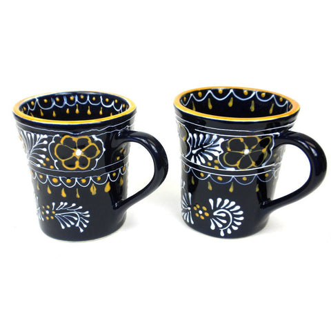 Ceramic Flared Mug - Azul Marino - Set of Two-Snazzy Bazaar