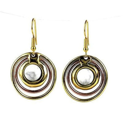 Concentric Howlite Brass and Copper Earrings-Snazzy Bazaar