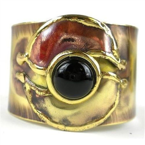 Connections Onyx Brass and Copper Cuff-Snazzy Bazaar