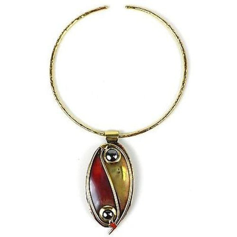 Continuity Hematite, Copper and Brass Pendant Necklace-Snazzy Bazaar