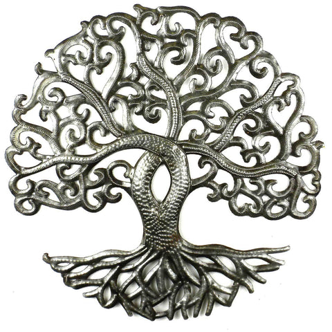Curly Tree of Life - Haitian Metal Wall Art-Snazzy Bazaar