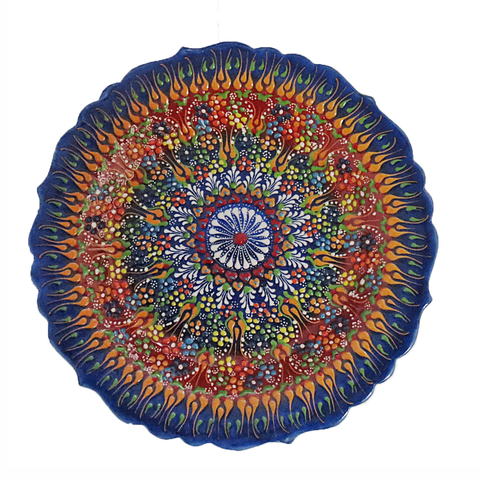 Decorative Plate - Blue Rim-Snazzy Bazaar