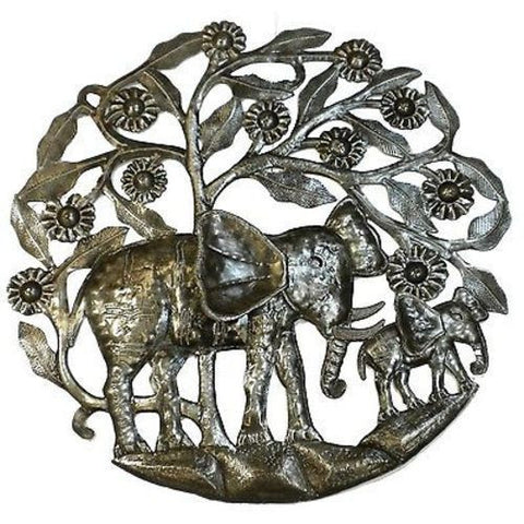 Elephant and Calf - Signed Haitian Steel Drum Metal Wall Art-Snazzy Bazaar