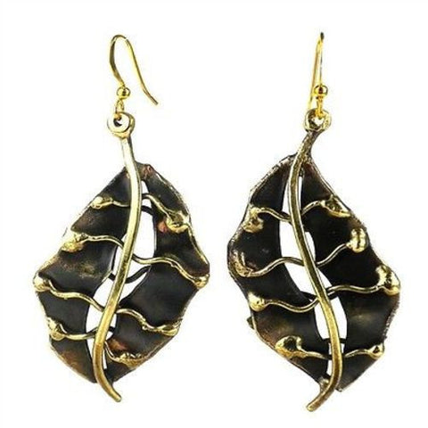 Fall Leaf Brass Earrings-Snazzy Bazaar