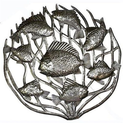 Fish in Coral - Haitian Metal Wall Art-Snazzy Bazaar