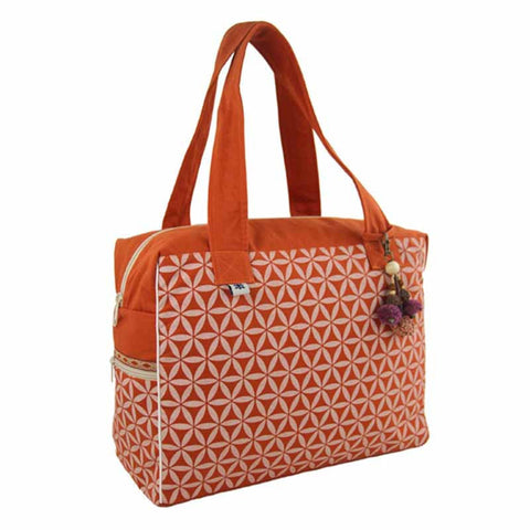 Flower of Life Retreat Bag Terracotta/Cream-Snazzy Bazaar