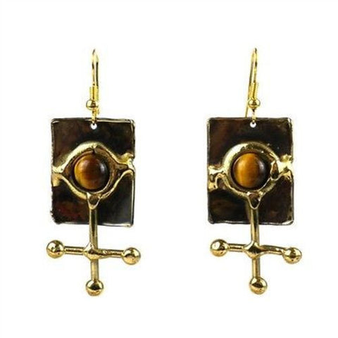 Gold Tiger Eye Ball and Jack Brass Earrings-Snazzy Bazaar