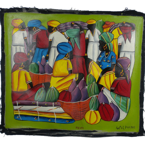 Haitian Acrylic Painting on Canvas - Day in the Life-Snazzy Bazaar