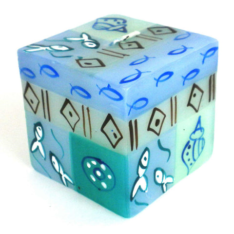 Hand-Painted Cube Candle - Samaki-Snazzy Bazaar