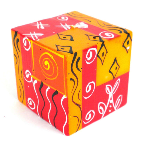 Hand-Painted Cube Candle - Zahabu-Snazzy Bazaar