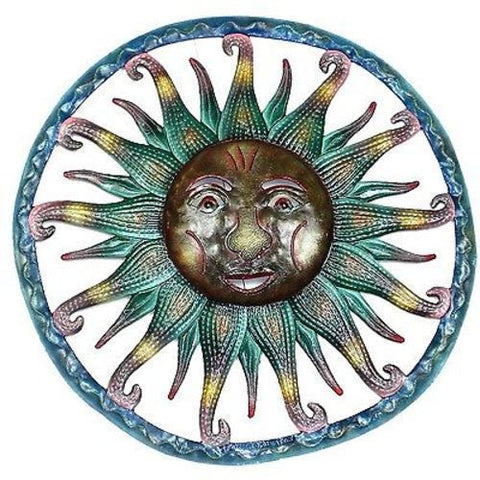 Hand Painted Sun - Haitian Metal Wall Art-Snazzy Bazaar